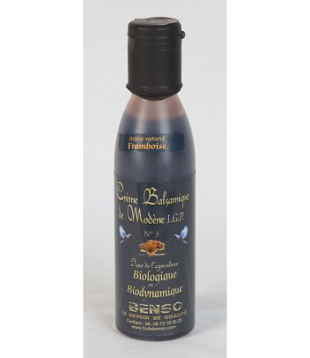 crème balsamique biologique et biodynamique, arômatisée à la framboise150 ml
